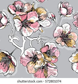 Seamless pattern with soft pink and gold flowers cherry on a gray background. Vector illustration.