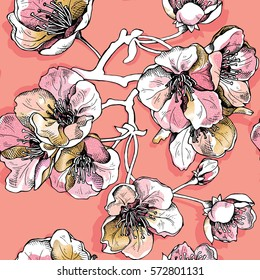 Seamless pattern with soft pink and gold flowers cherry on a apricot color background. Vector illustration.