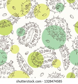 Seamless pattern with soursop: fruit and soursop slice. Annona muricata. Vector hand drawn illustration.