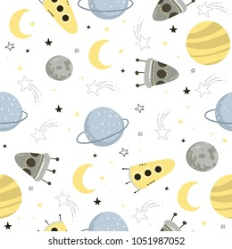 Seamless pattern with space elements. Seamless background for kids design, wrapping paper, wallpaper, textile, apparel, fabric. Vector illustration EPS10