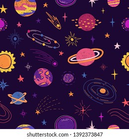 Seamless pattern with space elements. Cartoon style wallpaper with planets, universe and cosmic star. Children's background with hand-drawn galaxy doodle style. Vector.
