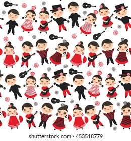 Seamless pattern Spanish flamenco dancer. Kawaii cute face pink cheeks winking eyes. Gipsy girl and boy, red black dress, polka dot fabric, on white background. Textile print, web page fill. Vector