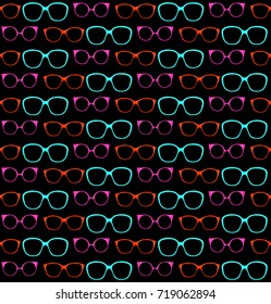 Seamless Pattern of Spectacle Frames. Vector Illustration of Fashion Glasses. Decorative Background of Vintage Sunglasses. Design for Fabric or Wallpaper. Fashion Print for Textile. Stylized Graphic