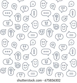 Seamless pattern - speech bubble. Smile icons in line style. Abstract background