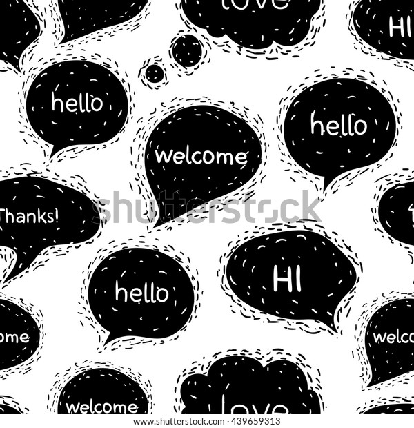 Seamless Pattern Speech Bubblesgreetingswords Hello Welcome Stock