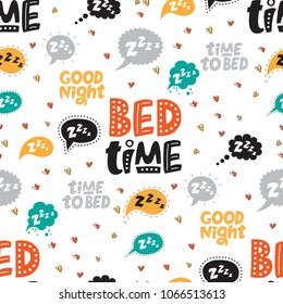 Seamless pattern with Speech clouds with the text Z Z Z Z and Hand drawn quotes about sleep. Time to bed, Good night, Bed time. Nursery print design. For textile or wall design. Vector illustration