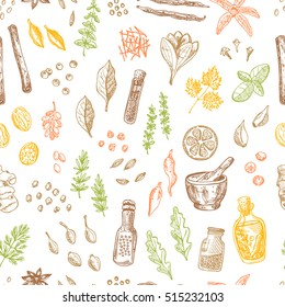 Seamless pattern with spices and herbs. Hand drawn vector illustration. Cinnamon, pepper, cardamon, ginger, basil, capers, thyme, oregano, barberry, dill, saffron, vanilla, chili, bay leaf and other.