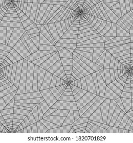 Seamless pattern with spider web. Halloween decoration with cobweb. Spiderweb flat vector illustration. Isolated graphic. Horror, fear, creepy art concept. Outline sketch, transparent background.