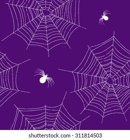 Seamless pattern of spider web  and spiders