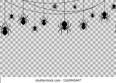 Seamless pattern with spiders for Halloween celebration on transparent background. Vector Illustration. Halloween background with black spiders and spider web.