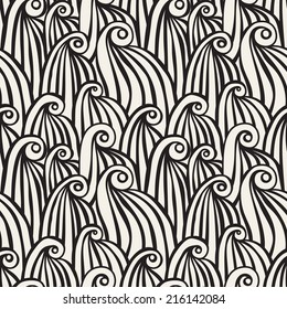 Seamless pattern with spiral curls. Stylized ocean waves. Hand drawn doodle