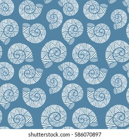 Seamless pattern with spiral shells. Marine theme. Niagara color. Vector illustration
