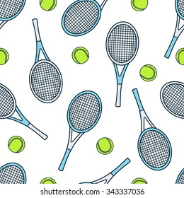 Seamless pattern with sport equipment. Colorful background vector. Illustration with tennis rackets and balls