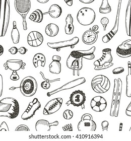 Seamless pattern with sport objects. Hand drawn vector illustration. Curling, tennis, skating, baseball, hockey, golf, football, basketball, volleyball, soccer, ping pong, surfing and other.
