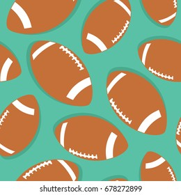 Seamless pattern with sports equipment. Colorful background vector. Illustration with balls for american football. Collection of brown balls. Decorative wallpaper, good for printing