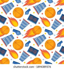 Seamless pattern of sports items on a white background. Basketball. Sports team game. Background of  ball, basket, whistle and scoreboard. Colorful vector flat illustration.