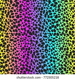 Seamless pattern with spots on rainbow background
