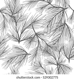 Seamless pattern - sprigs of pine . Vector background for design