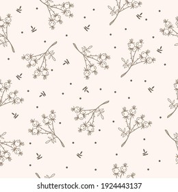 Seamless pattern of sprigs of rose hips, berries and leaves, doodle, brown color, in the doodle technique, cartoon vector picture for social networks, stock illustration