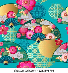 Seamless pattern with spring chinese fans