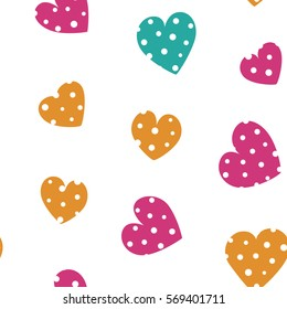 Seamless pattern with spring colored hearts on a white background. Vector repeating texture. Perfect for printing on fabric or paper.