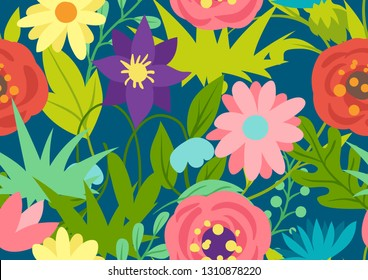 Seamless pattern with spring flowers. Beautiful decorative natural plants, buds and leaves.