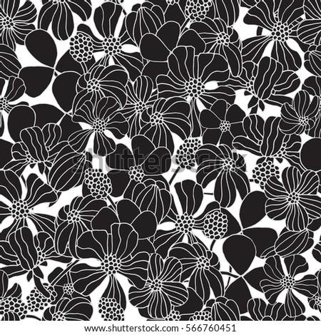 Seamless Pattern Spring Flowers Black White Stock Vector Royalty