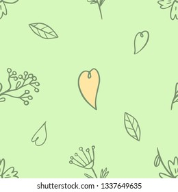 Seamless pattern with spring flowers and hearts. Hand drawing. Vector.