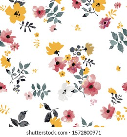 Seamless pattern with spring flowers and leaves