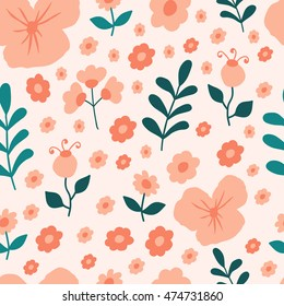 Seamless pattern with spring flowers and leaves on a light background.