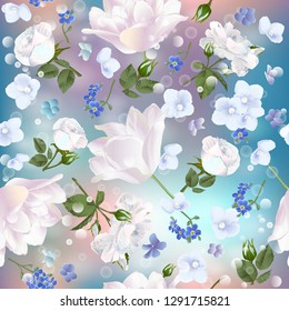 Seamless pattern with spring flowers. Modern floral pattern for packaging, textile, wallpaper, print, gift wrap, scrapbooking, decoupage, greeting or wedding background.