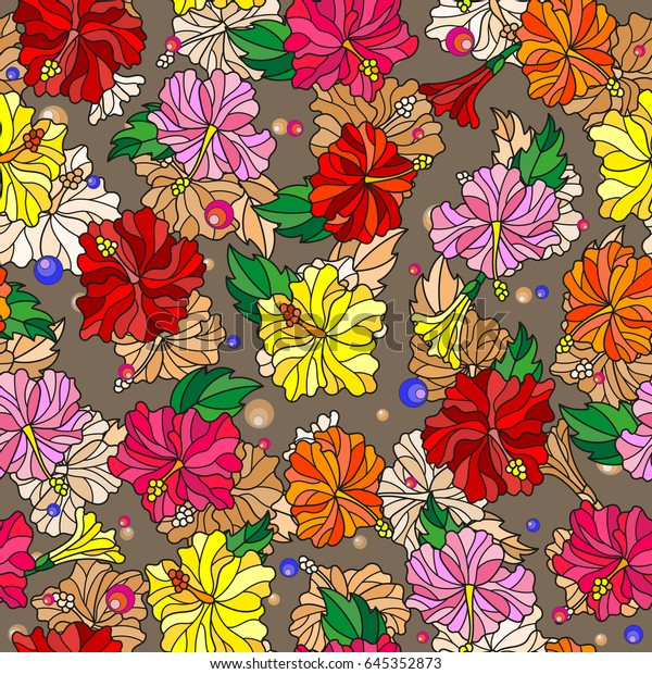 Seamless Pattern Spring Flowers Stained Glass Stock Vector Royalty