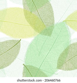 Seamless pattern from spring or summer leaves with thread