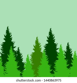 Seamless pattern with spruce trees. Endless nature background. Design elements for web, prints, invitations, cards, textile, gift wrapping paper.