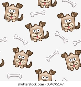 Seamless pattern square dog and bone in vector
