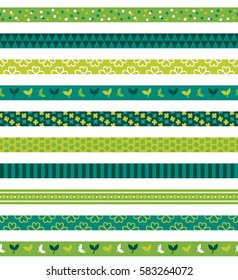 Seamless pattern with St. Patrick's Day ribbons. Clover, leaves and stripes. Perfect for creating collages, decorating wishes, albums, greeting cards, home accessories and more