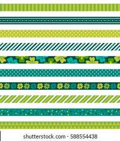 Seamless pattern with St. Patrick's Day ribbons. Clover, polka dot and stripes. Perfect for creating collages, decorating wishes, albums, greeting cards, home accessories and more