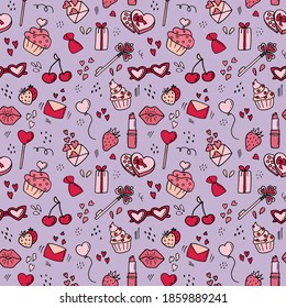 Seamless pattern for St. Valentine's Day. Doodle style. Design for fabric, textile, wallpaper, packaging.