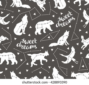 Seamless pattern with star animals. Vector hipster background with star sky. Fashion design for fabric, wallpaper or gift wrap.