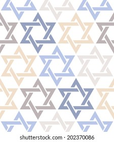 Seamless pattern. Star of David. Vector thematic texture