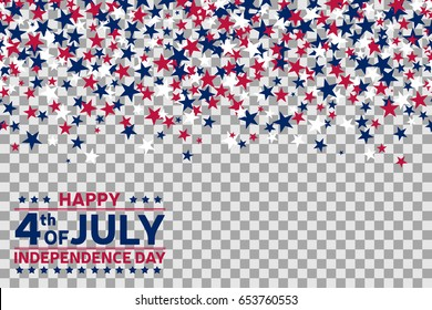 Seamless pattern with stars for 4th of July celebration on transparent background. Vector Illustration. Fourth of july background.