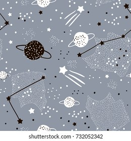 Seamless pattern with stars, constellations, planets and hand drawn elements. Childish universe texture. Great for fabric, textile Vector Illustration
