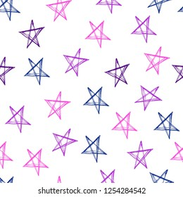 Seamless pattern with stars hand drawn with ink. Vector background.