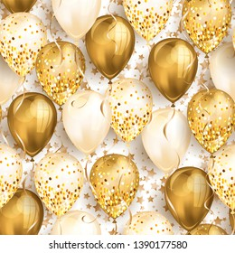 Seamless pattern with stars and shiny gold realistic 3D helium balloons for your design. Glossy balloons with glitter and ribbon, perfect background for birthday party brochures, invitation card.