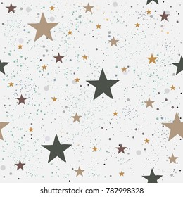 Seamless Pattern with Stars.Great for wedding cards, postcards, t-shirts, bridal invitations, brochures, posters, gift wrapping, wall art, wallpapers, etc.Vector Illustration.
