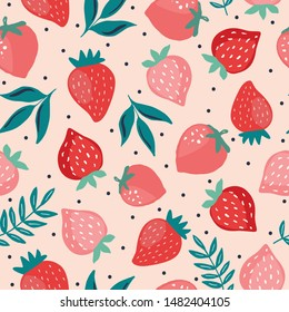 Seamless pattern with starwberry berries and leaves. Garden and nature hand drawn sketch style tileable background for fabric, wallpaper, surface design