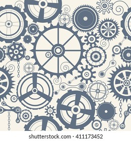 Seamless pattern with steam punk cogs