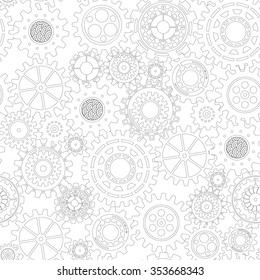 seamless pattern of steampunk gear collection, industrial machine technology concept, steel cogwheel background vector illustration