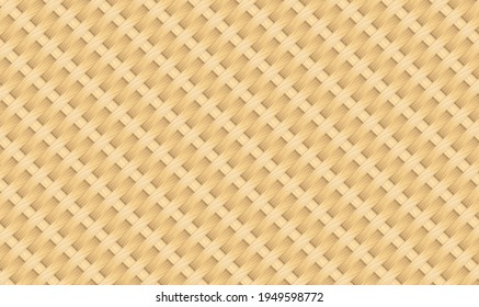 Seamless pattern stock vector bamboo handmade background. Reed mat with woven texture of crosshatched yellow or brown straws. Distressed weave basket. Natural bamboo seamless pattern. Vector EPS10.