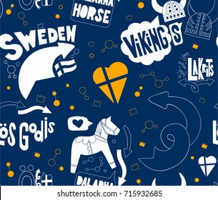 Seamless pattern with Stockholm's elements on blue background. Good for souvenirs from Sweden - typical swedish words (Sweden, liquorice, sweets, Vikings, horse from Dalarna). Hand drawn doodle.